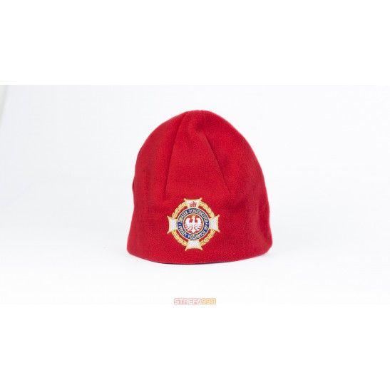 Czapka zimowa z polaru czerwona.  Logo ZOSP RP -  Odzież